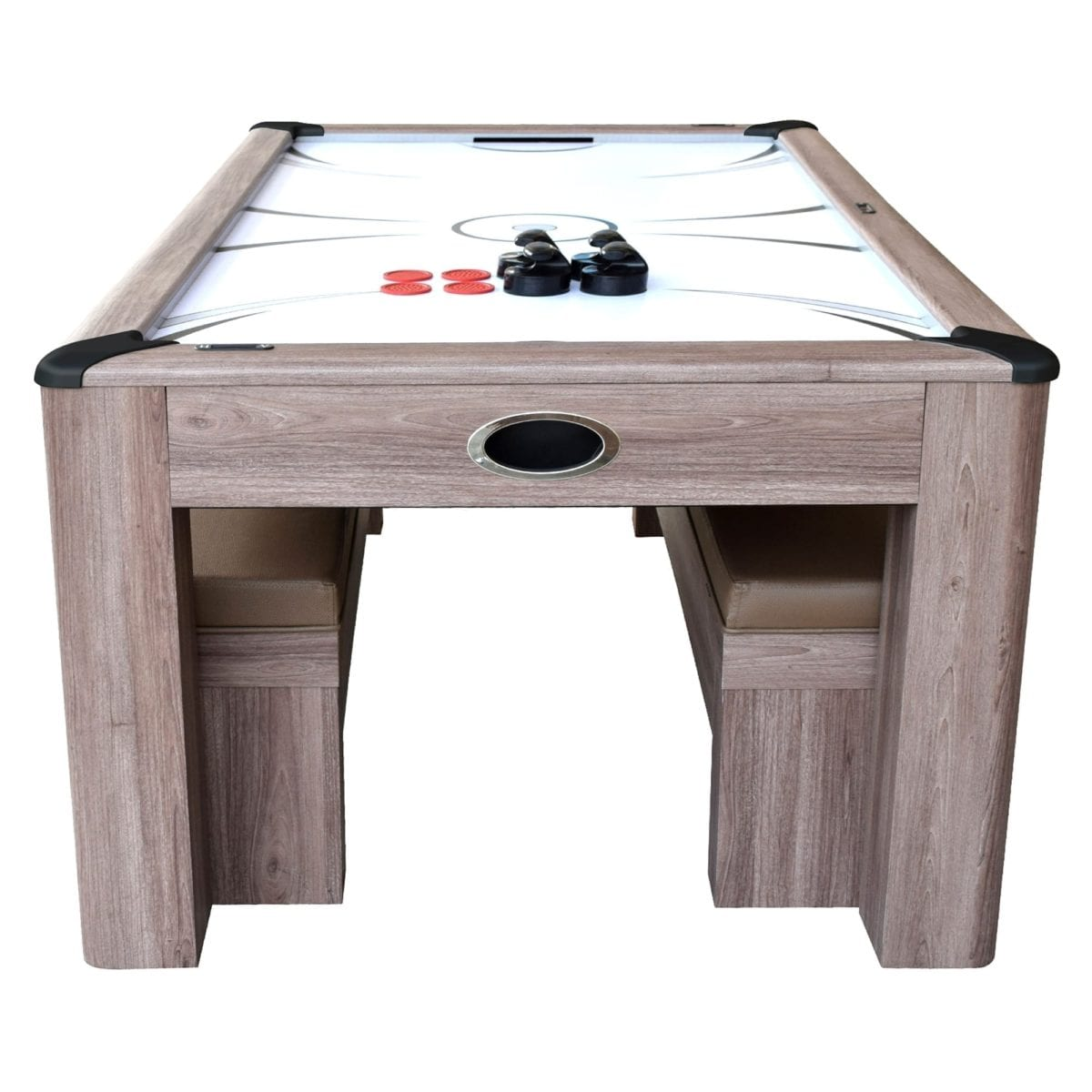 7 Foot Driftwood Air Hockey Table Tennis Combo Set W