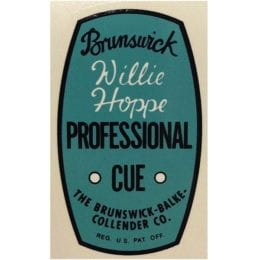 Willie Hoppe Professional Cue Decal